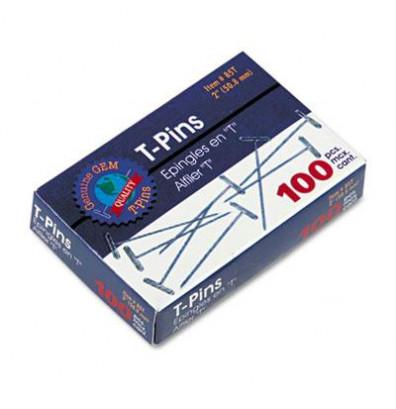 "GEM 2"" Length Silver Steel T-Pins, 100/Box"
