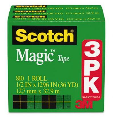 """Scotch 1/2"""" x 36 yds Clear Magic Tape, 1"""" Core, 3-Pack"""
