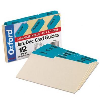 "Oxford 1/3 Tab 5"" x 8"" 12-Month Index Card Guides, Manila, 1 Set"
