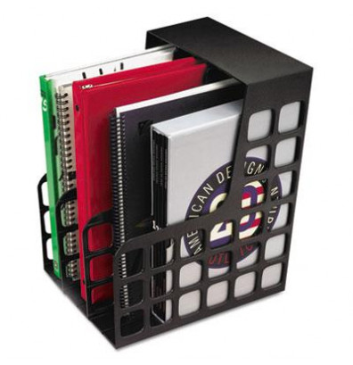 """Pendaflex 9"""" DecoRack Plastic Magazine File with Two Snap-In Dividers, Black"""