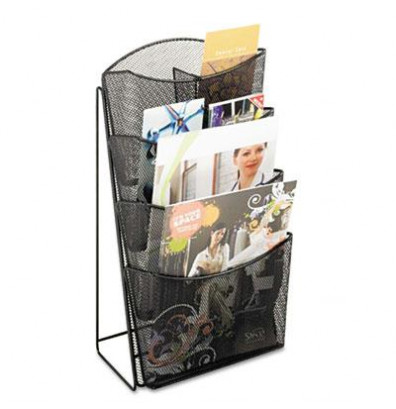Safco Four Compartments Onyx Mesh Counter Display, Black