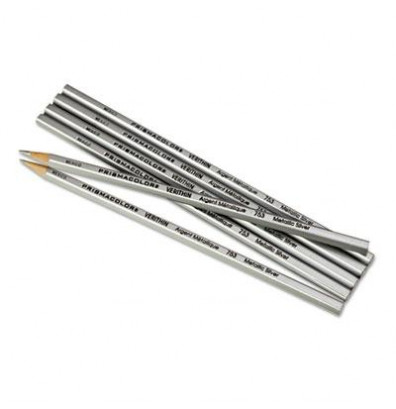 Prismacolor Verithin 2 mm Metallic Silver Woodcase Pencils, 12-Pack