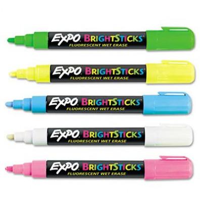 Expo Bright Sticks Wet-Erase Fluorescent Marker, Bullet Tip, Assorted, 5-Pack