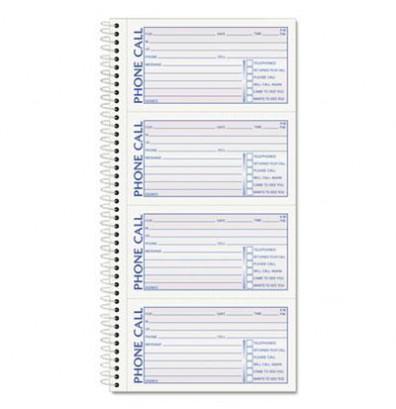 """TOPS 5"""" x 2-3/4"""" 2-Part Spiralbound Message Book, 400-Forms"""