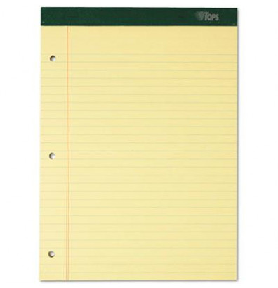 "TOPS 8-1/2"" X 11-3/4"" 100-Sheet 6-Pack Legal Rule Notepads, Canary Paper"