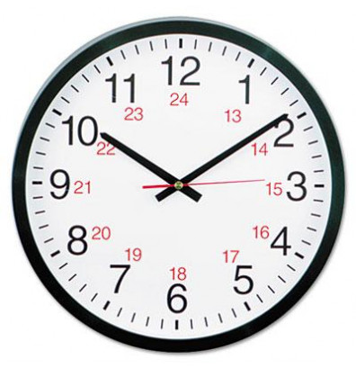 "Universal 12.5"" Round 24-Hour Wall Clock, Black"