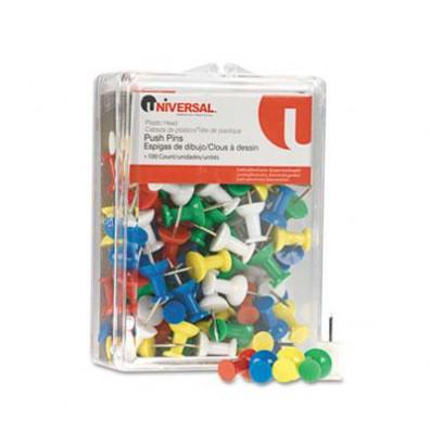 "Universal 1/4"" Head Rainbow Colored Push Pins, 100/Pack"