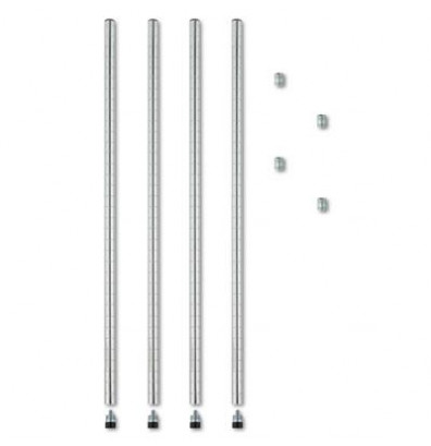 "Alera SW59PO36SR 36"" H 4-Pack Stackable Posts for Wire Shelving, Silver"