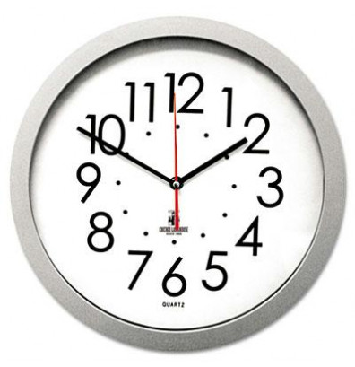 """Chicago Lighthouse 14.5"""" Contemporary Flat Rim Wall Clock, Silver"""