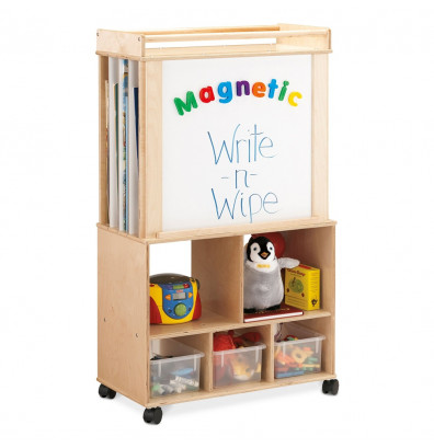 "Jonti-Craft Script-n-Skills 30"" W Magnetic Dry Erase & Flannel Board Mobile Big Book Easel (Front Magnetic Dry Erase Board Shown)"