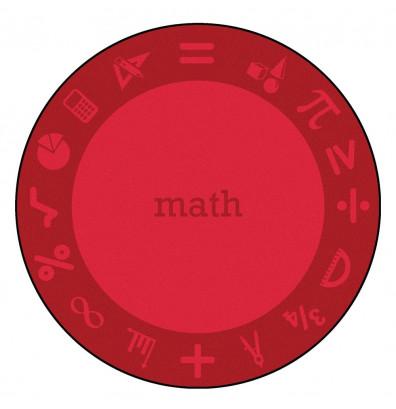 Joy Carpets STEM Classroom Rug, Math (Shown in Round)
