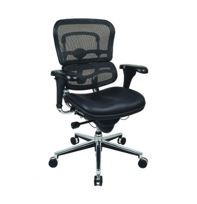 Eurotech ErgoHuman LEM6ERGLO Multifunction Mesh-Back Leather Mid-Back Executive Office Chair