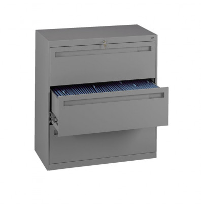 """Tennsco 3-Drawer 30"""" Wide Lateral File Cabinet - Medium Grey"""