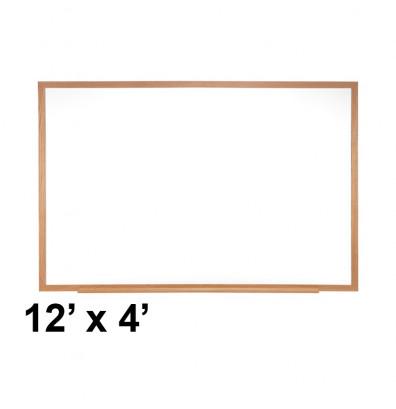 Ghent M1W-412-4 Traditional Centurion 12 ft. x 4 ft. Wood Frame Porcelain Magnetic Whiteboard