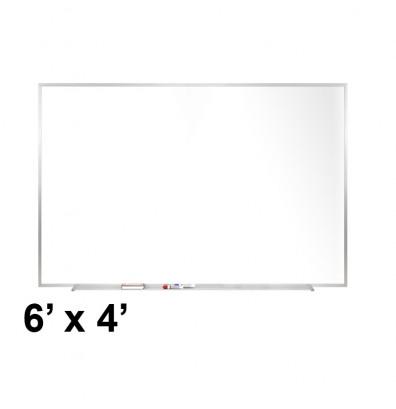 Ghent M2-46-4 6 ft. x 4 ft. Aluminum Frame Melamine Whiteboard