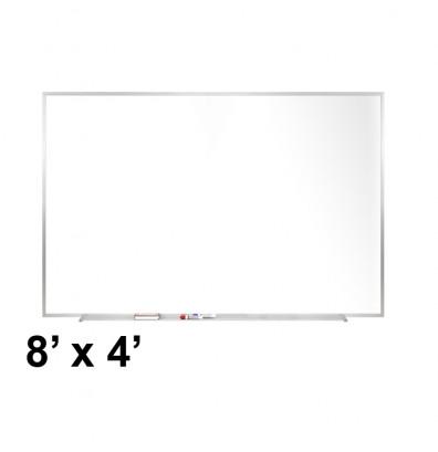 Ghent M2-48-4 8 ft. x 4 ft. Aluminum Frame Melamine Whiteboard