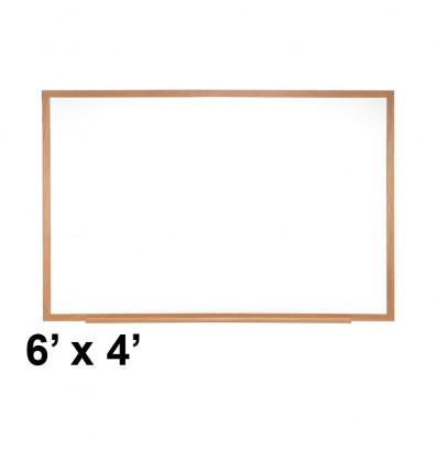 Ghent M2W-46-4 6 ft. x 4 ft. Wood Frame Melamine Whiteboard