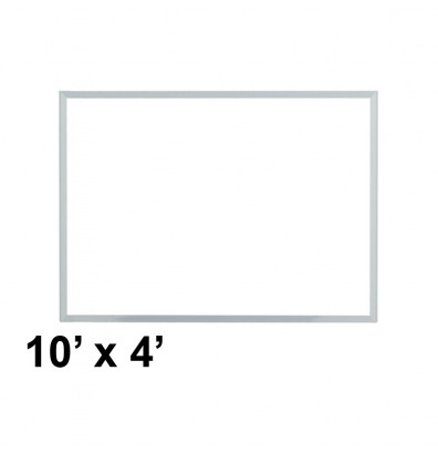 Ghent M3-410-4 Spectra 10 ft. x 4 ft. Aluminum Frame Magnetic Painted Steel Whiteboard (accessory marker tray not shown)