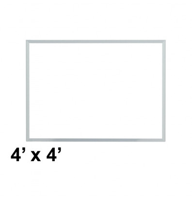 Ghent M3-44-4 Spectra 4 ft. x 4 ft. Aluminum Frame Magnetic Painted Steel Whiteboard (accessory marker tray not shown)