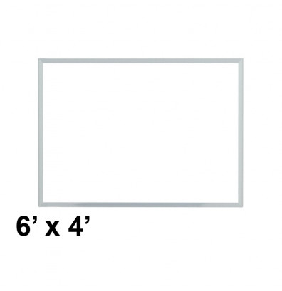 Ghent M3-46-4 Spectra 6 ft. x 4 ft. Aluminum Frame Magnetic Painted Steel Whiteboard (accessory marker tray not shown)
