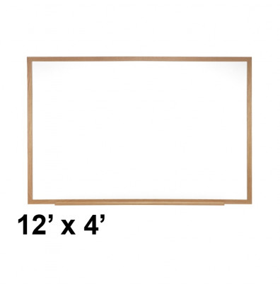Ghent M3W-412-4 Spectra 12 ft. x 4 ft. Wood Frame Magnetic Painted Steel Whiteboard