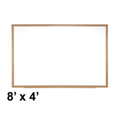 Ghent M3W-48-4 Spectra 8 ft. x 4 ft. Wood Frame Magnetic Painted Steel Whiteboard