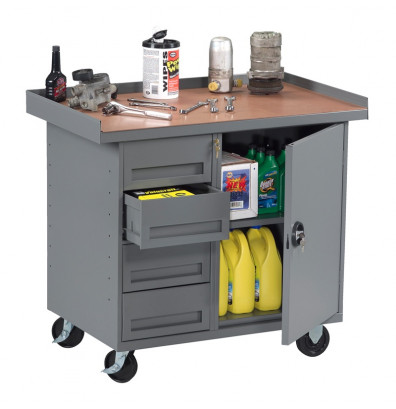 """Tennsco 42"""" Wide Mobile Workbenches (1 Cabinet, 4 Drawers Model Shown)"""