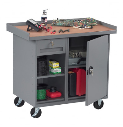 Tennsco MB-2-2542 Mobile Workbench with Cabinet, 1 Drawer & 2 Shelves