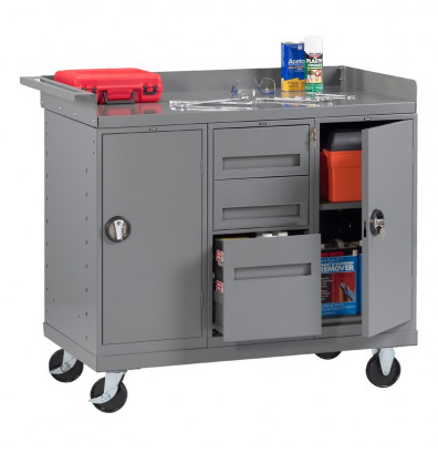 Tennsco MB-6-2545 Mobile Workbench with 2 Cabinets, 3 Drawers