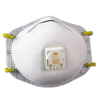 3M Particulate Respirator 8211, N95, 10/Pack
