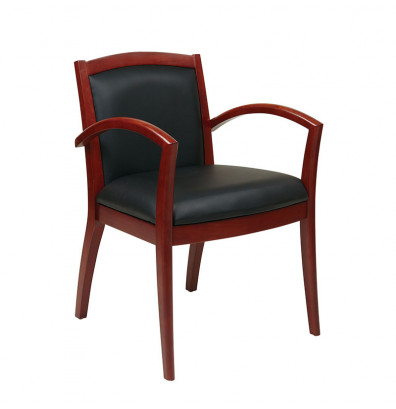 Office Star Napa Eco-Leather Wood Mid-Back Guest Chair