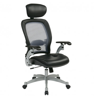 Office Star Space Seating Professional Light AirGrid Mesh-Back Leather High-Back Executive Chair