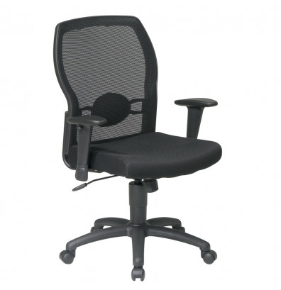 Office Star Work Smart Woven Mesh-Back Fabric Mid-Back Task Chair