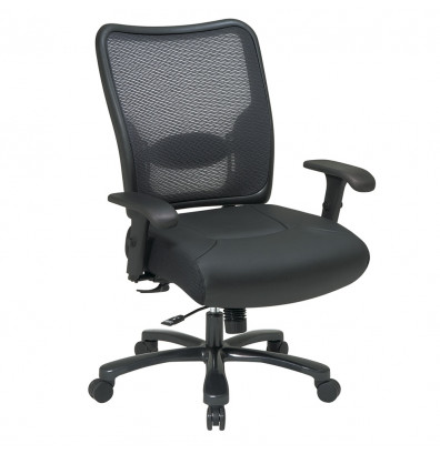 Office Star Space Seating Big & Tall 400 lb. Double AirGrid Mesh-Back Layered Leather Mid-Back Office Chair