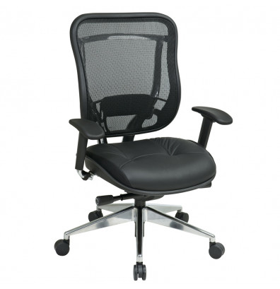 Office Star Space Seating Big & Tall 300 lb. Mesh-Back Leather Mid-Back Executive Chair
