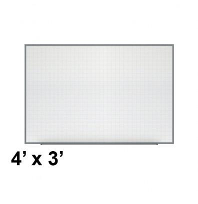 Ghent PLM3-34-0 Phantom Line 4 ft. x 3 ft. Magnetic Grid Pattern Whiteboard