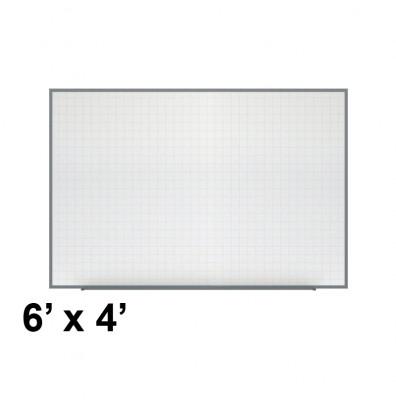 Ghent PLM3-46-0 Phantom Line 6 ft. x 4 ft. Magnetic Grid Pattern Whiteboard