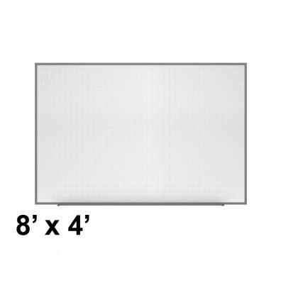 Ghent PLM3-48-0 Phantom Line 8 ft. x 4 ft. Magnetic Grid Pattern Whiteboard
