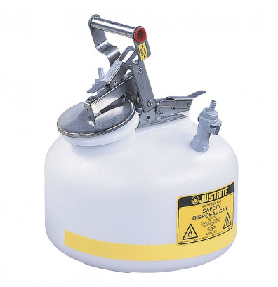 """Justrite PP12752 Polyethylene 2 Gallon Disposal Safety Can, 3/8"""" Poly Fitting"""