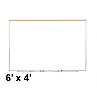 Ghent PRM1-46-4 Proma 6 ft. x 4 ft. Magnetic Projection Whiteboard with Map Rail