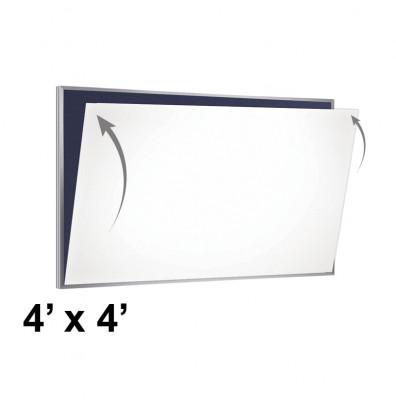 Ghent PSC-44-W PDQ 4' x 4' Porcelain Magnetic Whiteboard Skin Sheet