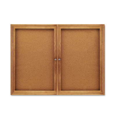 Quartet 364 Indoor 2 Door 4 ft. x 3 ft. Oak Frame Enclosed Cork Bulletin Board