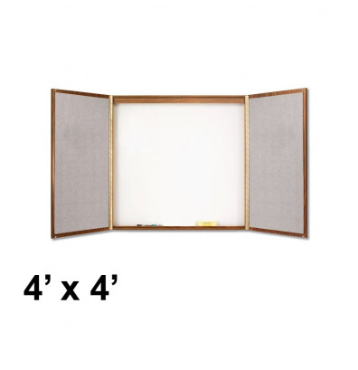 Quartet 838 4 ft. x 4 ft. Oak Laminate Whiteboard/Bulletin Board Conference Room Cabinet