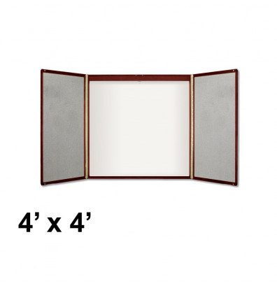 Quartet Premium 4u0027 X 4u0027 Whiteboard With Projection Screen Mahogany Wood  Veneer Conference Room Cabinet