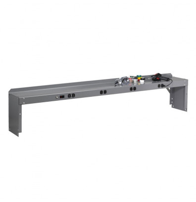 """Tennsco REI-1060-WK-1 Pre-Wired Electronic Riser with End Supports (60"""" W) shown in Medium Grey"""
