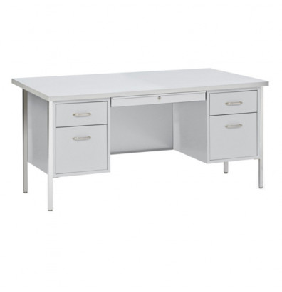"Sandusky 500 Series 60"" W Double Pedestal Teacher Desk (Shown in Grey Top)"