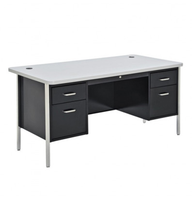 "Sandusky 600 Series 60"" W Double Pedestal Teacher Desk (Shown in Grey / Black)"