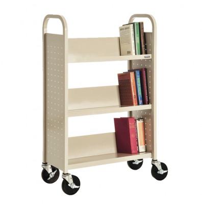"""Sandusky 18"""" W 3 Sloped-Shelf School Book Truck (Shown In Putty)"""