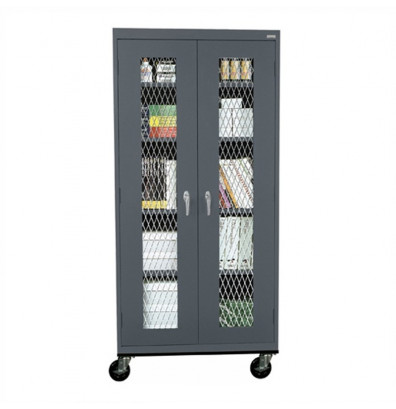 """Sandusky 36"""" W x 24"""" D x 78"""" H Transport Expanded Metal Front Mobile Storage Cabinet, Assembled (Shown in Charcoal)"""