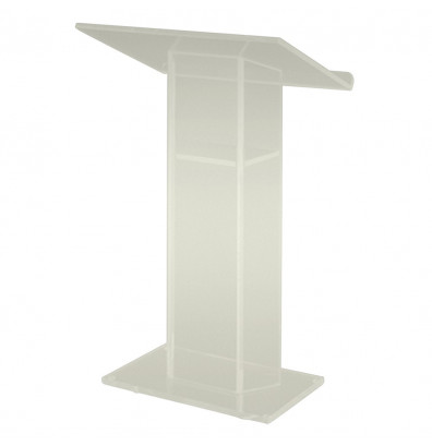 Amplivox Large Top Acrylic Wing-Style Lectern with Shelf (Shown in Frosted Acrylic)
